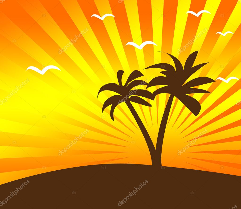 Tropical sunset background with palm tree — Stock Photo #6022163