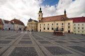 Main square historical arhitecture in Sibiu Transylvania Romania — Stock Photo