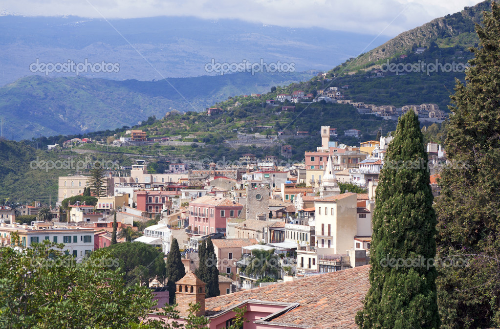 Town of Taormina in Sicily Italy in spring  Stock Photo #5994408