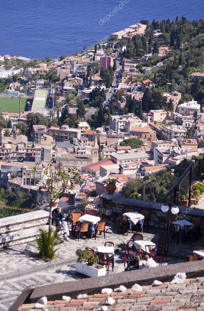 Town of Taormina in Sicily Italy in spring view from high point with greek theater  Stock Photo #5994424