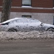 Parked car in snow heavy winter — Stock Photo