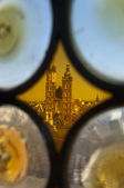View through stain glass of Krakow cathedral — Stock Photo