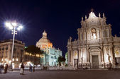Piazza del Duomo in Catania by night — Stock Photo