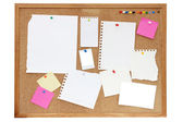 Noticeboard or pinboard with lots of blank paper on — Photo
