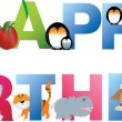 Royalty-Free Stock Vector Image: Happy birthday young child style