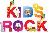 The word kids rock — Stock Vector