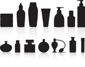 Selection of silhouettes of perfume or lotion bottles — ストックベクタ