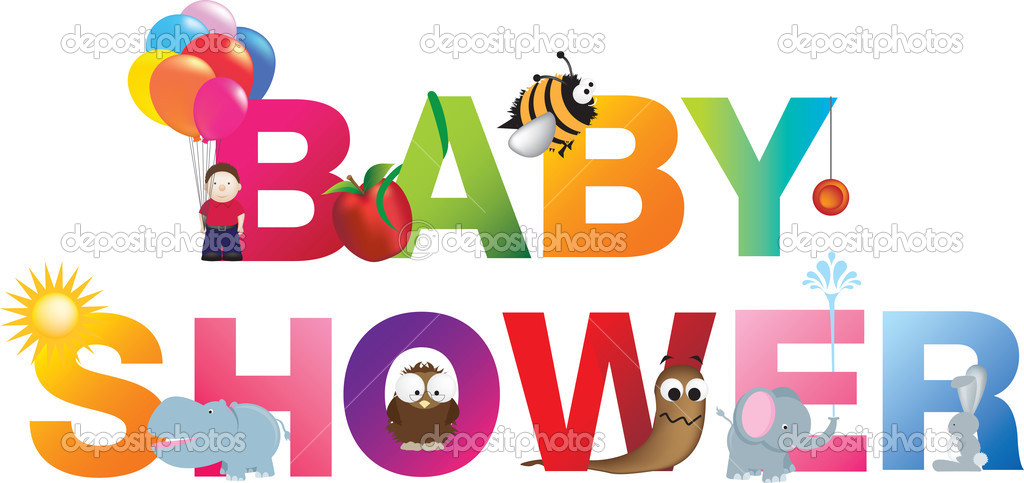 The words baby shower  made up from alphabet cartoon letters with matching animals and objects  Stock Vector #5663478