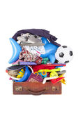 Summer vacation or holiday suitcase really packed, cannot close — Stock Photo