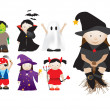 Childrens dressing up in fancy dress for parties and halloween — Stock Vector