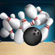 Ten pin strike out — Stock Vector