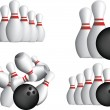 TEN PIN BOWLING PINS - Stock Vector