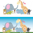 Cute cartoon jungle safari animal set — Vector de stock