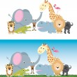 Stock vektor: Cute cartoon jungle safari animal set