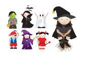 Niños vestirse con disfraces para fiestas y halloween — Vector de stock
