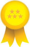 Yellow 5 star ribbon seal — Stock Vector