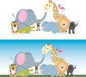 Cute cartoon jungle safari animal set — Stockvector