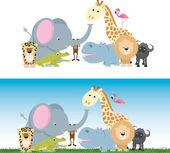Cute cartoon jungle safari animal set — Stock Vector
