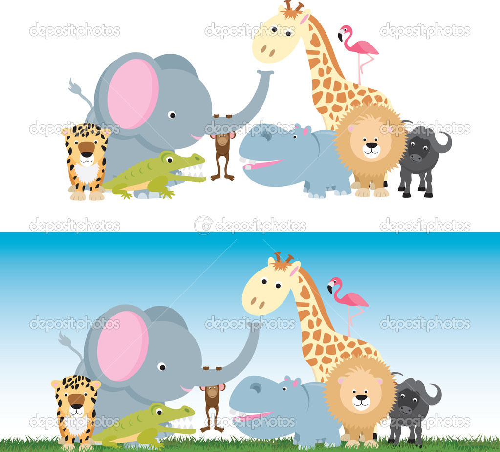 Selection of wild animal cartoons including elephants, cats and a monkey — Stock Vector #6000592
