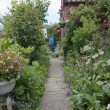 Garden path to a country cottage garden — Stock Photo