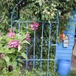 Stock Photo: Old wrought iron gate to a secret garden