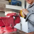 Close up of saw and wood in vice clamp — Stock Photo #6047681