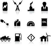 Conjunto de silhuetas negras para as indústrias de energia, energia e combustível — Vetor de Stock