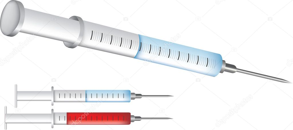 Medical equipment illustrations isolated on white, injection syringe needles. — Stock Vector #6104040