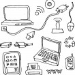 Handdrawn technology design elements, — Stock Vector