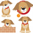 Dog cartoon selection of positions - Stok Vektr