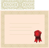 Certificate with elaborate border — Stock Vector