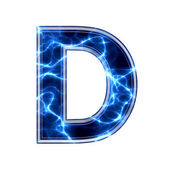 Electric 3d letter on white background - d — Stock Photo
