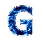 Electric 3d letter on white background - g — Stock Photo