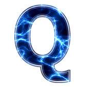 Elektro 3d buchstaben auf weißem hintergrund - q — Stockfoto