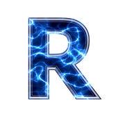 -在白色背景上的电动 3d 字母 r — 图库照片
