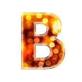 3d letter with glowing lights texture - B — Stock Photo