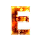 3d letter with glowing lights texture - E — Stock Photo