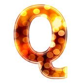 3d letter with glowing lights texture - Q — Stock Photo
