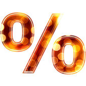 3d percent sign with glowing lights texture — Stock Photo