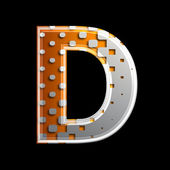 Halftone 3d letter - D — Stock Photo