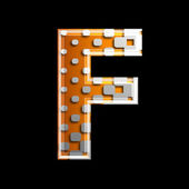 Halftone 3d letter - F — Stock Photo