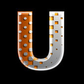 Halftone 3d letter - U — Stock Photo