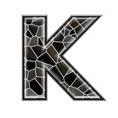 Abstract 3d letter with stone wall texture - K — Stock Photo
