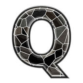 Abstract 3d letter with stone wall texture - Q — Foto de Stock