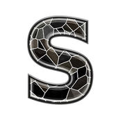 Abstract 3d letter with stone wall texture - S — Stock Photo