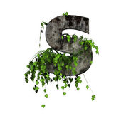 Green ivy on 3d stone letter - s — Foto Stock