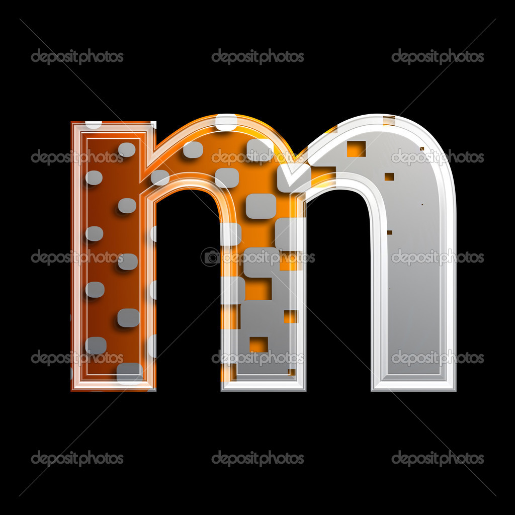 Halftone 3d letter isolated on black background - M — Stock Photo #6050385