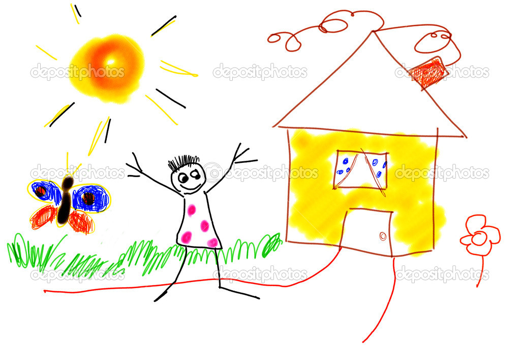 Naive Child drawing — Stok fotoğraf #6050813