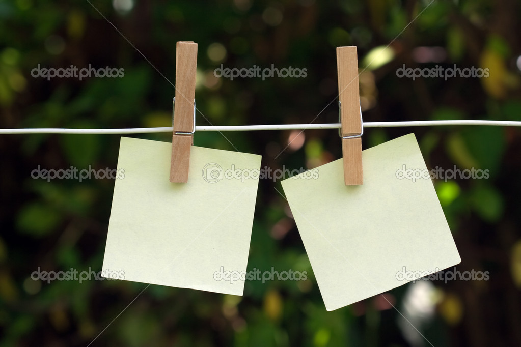 Post it on natural background  Stock Photo #6069780