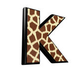 3d letter with giraffe fur texture - K — Stockfoto